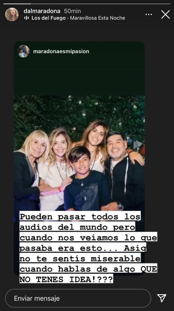 """Contundente posteo de Dalma Maradona con una foto junto a Diego y Claudia: """"Cuando nos veíamos pasaba esto"""""""