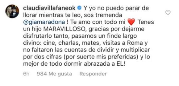"""Gianinna Maradona y un profundo mensaje de amor a Claudia Villafañe: """"Perdón por todas las que te hice pasar"""""""