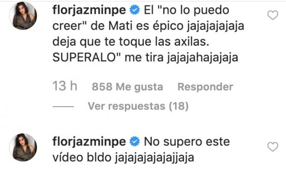 Nico Occhiato mandó al frente a Flor Jazmín Peña: el divertido video del TOC de la bailarina