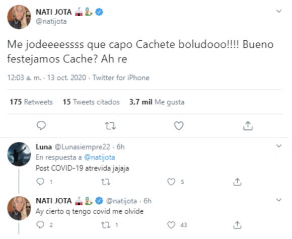 """El pícaro mensaje que Nati Jota le dedicó a Agustín Sierra, tras seguir en Cantando 2020: """"¿Festejamos?"""""""