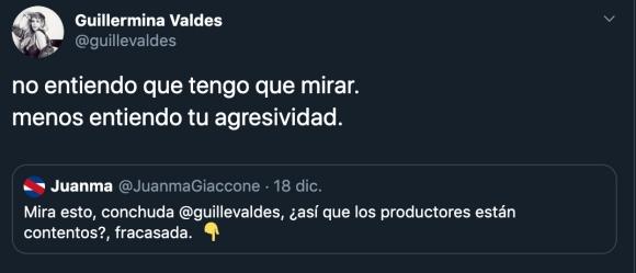 """Guillermina Valdés se cruzó con un seguidor por un desagradable insulto: """"No entiendo tu agresividad"""""""