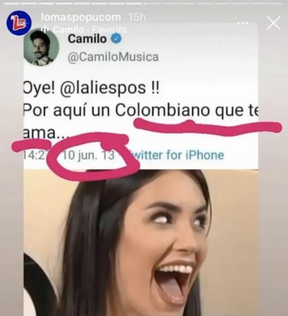 """Los llamativos mensajes retro que Camilo Echeverry le dedicaba a Lali Espósito, antes de salir con Evaluna Montaner: """"Aquí un colombiano que te ama"""""""
