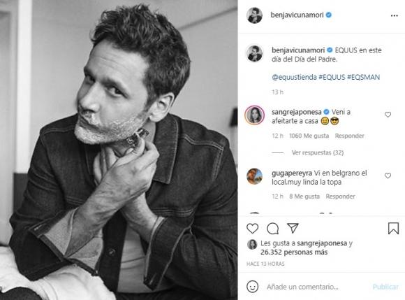 "Pícaro comentario de China Suárez al ver una foto sensual de Benjamín Vicuña: ""Vení a afeitarte a casa"""