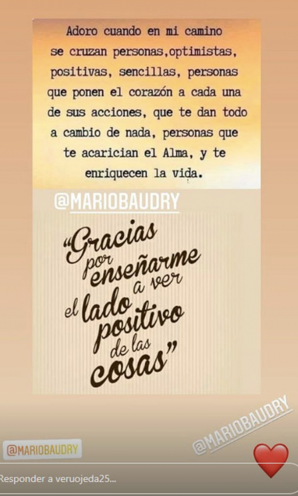 """La romántica reflexión que Verónica Ojeda le dedicó a su novio, Mario Baudry: """"Gracias por enseñarme a ver el lado positivo de las cosas"""""""