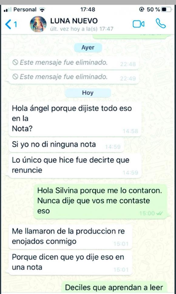 """Silvina Luna se indignó con De Brito por mostrar un chat y él retrucó: """"Cero códigos es hablar de una supuesta adicción del Polaco"""""""