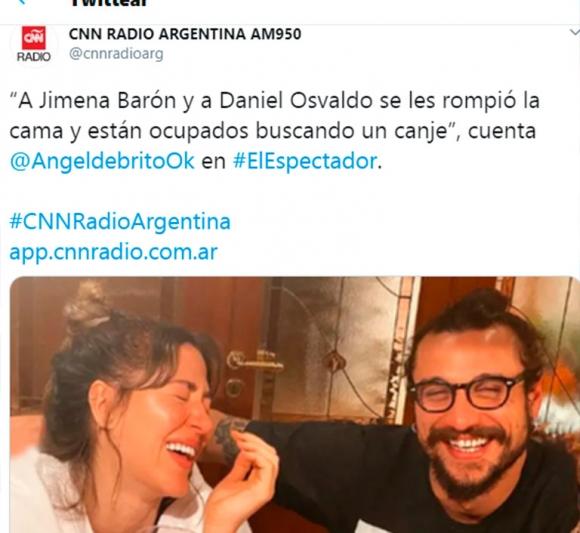"""El sugestivo chimento de Ángel de Brito sobre Jimena Barón y Daniel Osvaldo: """"Se les rompió la cama y buscan canje"""""""