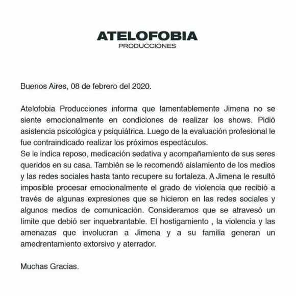 """Jimena Barón, con asistencia psiquiátrica y sedación tras el escándalo por su afiche: """"Se atravesó un límite"""""""