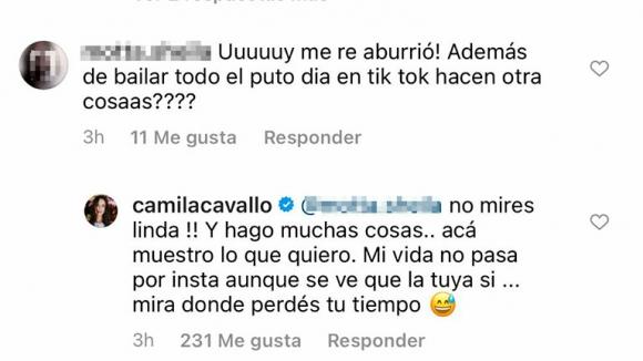"""Camila Cavallo cruzó fuerte a las seguidoras que la criticaron por su destape sexy: """"Acá muestro lo que quiero"""""""