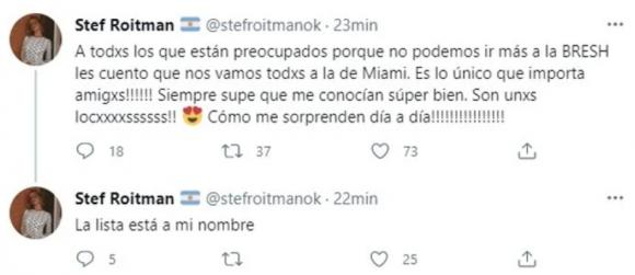 """Polémico tweet de Stefi Roitman tras las nuevas restricciones: """"Nos vamos todos a la fiesta de Miami"""""""