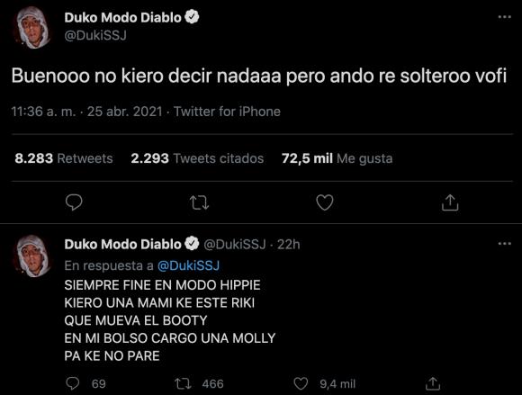 "Duki anunció de forma polémica su separación de Brenda Asnicar: ""Ando re soltero, en mi mejor momento"""