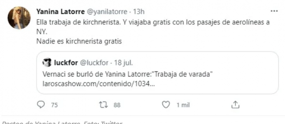 """Filosa respuesta de Yanina Latorre a Elizabeth Vernaci tras su fuerte ironía: """"Ella trabaja de kirchnerista"""""""