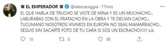 """Alex Caniggia volvió a agredir a la novia de Claudio Paul tras sus fuertes posteos: """"No seas mamarracho"""""""