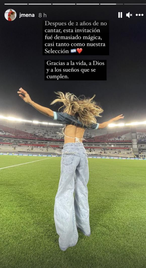 """La felicidad de Jimena Barón tras volver a cantar en el Monumental para la Selección: """"Esta invitación fue demasiado mágica"""""""