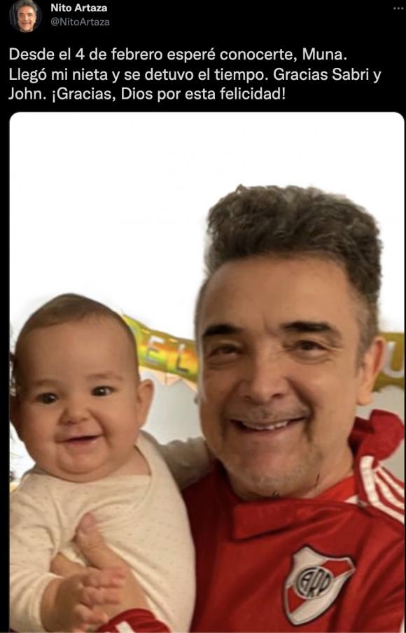 """Nito Artaza compartió su emoción por haber conocido a su nieta de siete meses: """"Llegó ella y se detuvo el tiempo"""""""