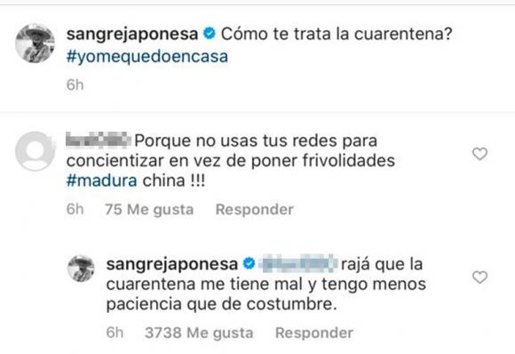"""La respuesta sin filtro de China Suárez a una seguidora que le pidió que madure: """"Rajá que la cuarentena me tiene mal"""""""