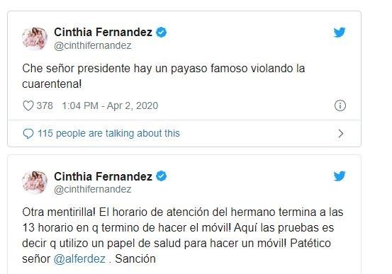 """Cinthia Fernández arremetió contra Baclini al verlo dar un largo móvil en la calle: """"Presidente, hay un payaso violando la cuarentena"""""""