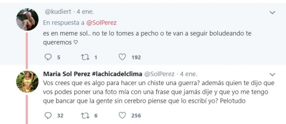 """La bronca de Sol Pérez por una frase sobre las guerras de una cuenta falsa: """"¿Creés que es algo para hacer un chiste?"""""""