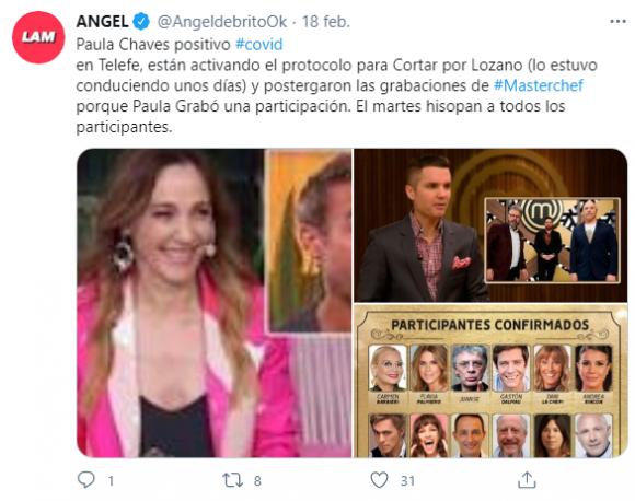 """Paula Chaves, positivo de covid: """"Activaron el protocolo en Cortá por Lozano y postergaron grabaciones de MasterChef"""""""