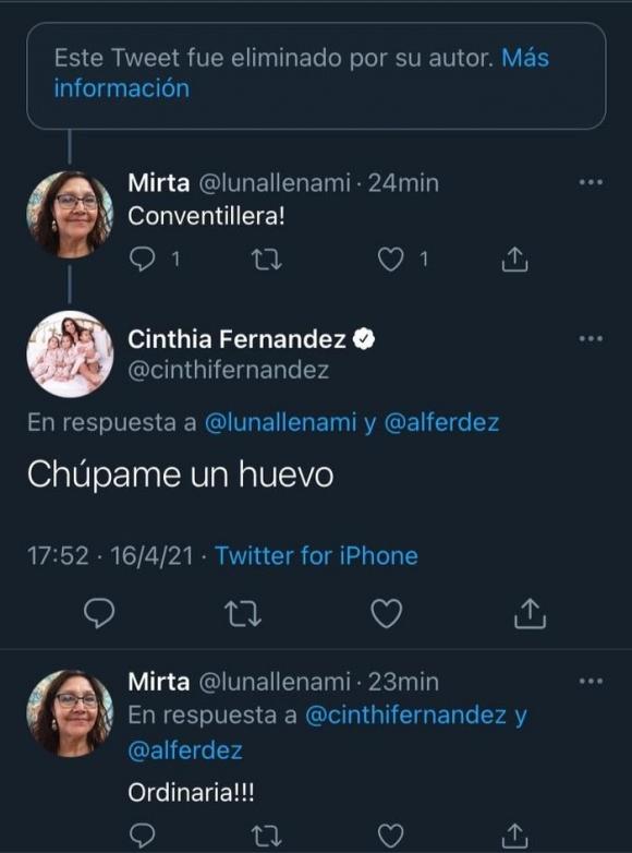 """Los tremendos tweets de Cinthia Fernández contra el Presidente que fueron denunciados: """"¡Usted no tiene vergüenza!"""""""