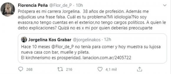 """Flor Peña se cruzó con una seguidora que la criticó por mostrar su lujosa casa: """"No soy evasora ni tengo cargos políticos"""""""