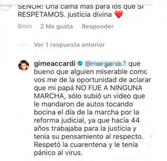 """Fuerte reacción de Gimena Accardi por el desubicado comentario de un seguidor sobre la muerte de su padre: """"Miserable"""""""