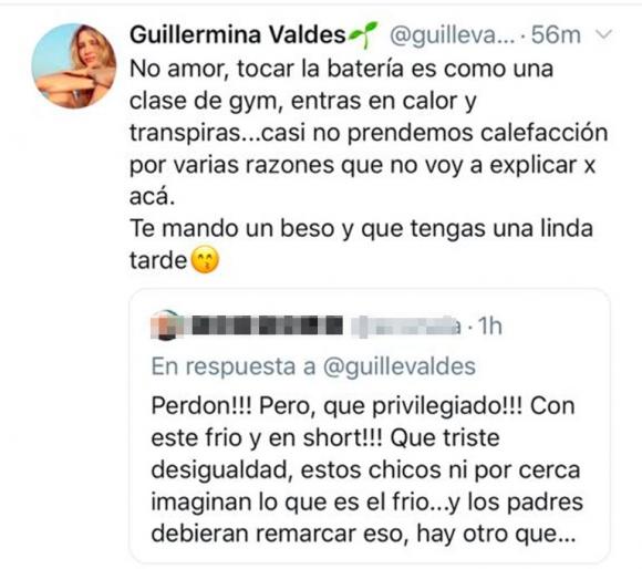 Guillermina Valdés se cruzó con una seguidora que criticó un video de su hija