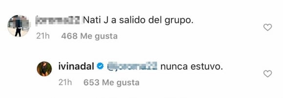"""El filoso comentario de Ivana Nadal contra Nati Jota por la polémica de su novio: """"Nunca estuvo en el grupo"""""""