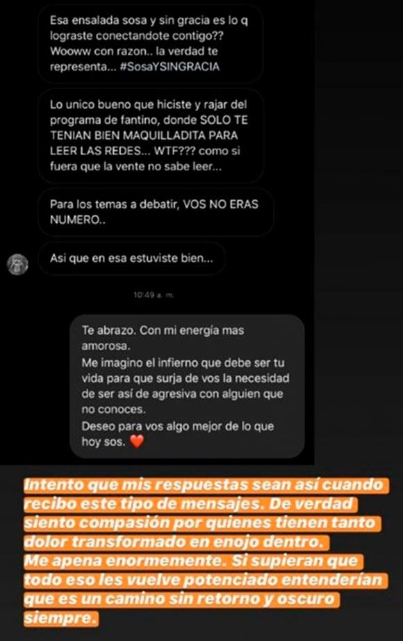 """Luli Fernández y las feroces críticas que recibió por subir la foto de una ensalada: """"Me han llegado a decir 'qué lástima que no te secuestraron al pibe'"""""""