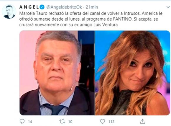 Marcela Tauro rechazó volver a Intrusos: podría trabajar con Luis Ventura en Fantino a la tarde