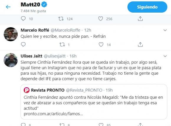 """Polémicos likes de Matías Defederico contra Cinthia Fernández: """"Tiene un ex que le pasa plata por las hijas"""""""