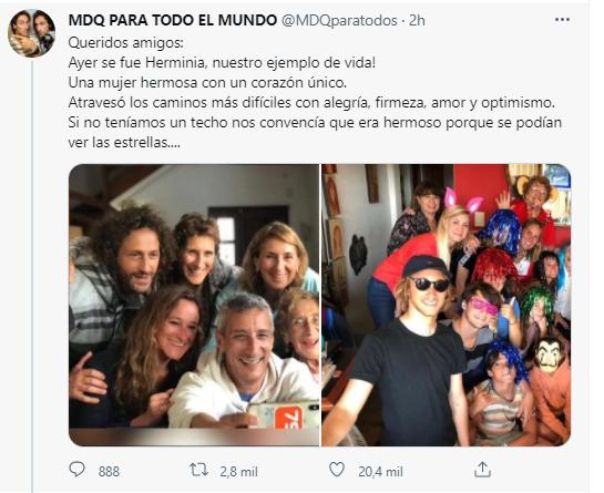 """Murió Herminia Weinbaum, la mamá de los conductores de MDQ Para Todo el Mundo: """"Te amamos con todo el corazón"""""""