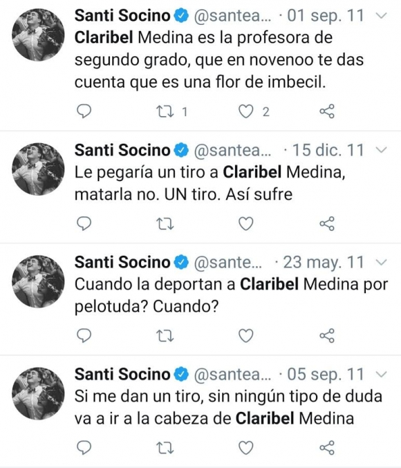 """Los violentos mensajes de otro integrante de Los Pumas contra Claribel Medina: """"Le pegaría un tiro"""""""