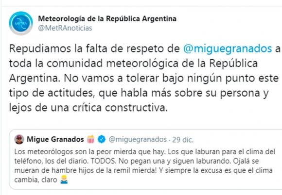 Migue Granados lanzó un furioso mensaje contra los meteorólogos y José Bianco le salió al cruce