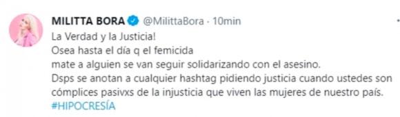 """Militta Bora habló tras su fuerte tweet contra Chano: """"Estoy movilizada, no me hace bien hablar de esto"""""""