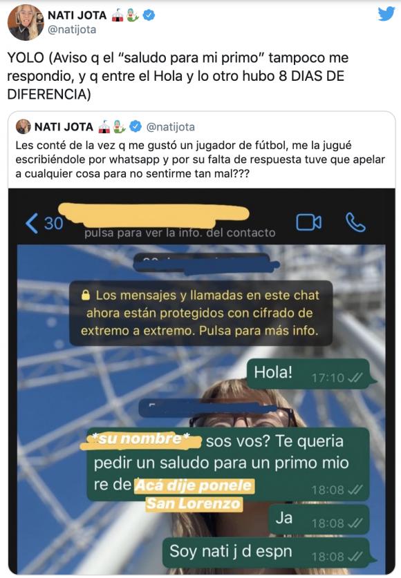 """Nati Jota mostró los mensajes que le mandó a un futbolista que le gusta, ¡y que no le contestó!: """"Solo se vive una vez"""""""