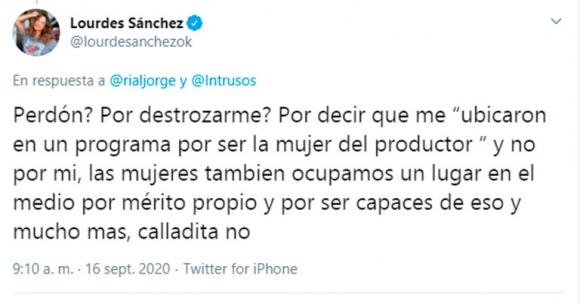 """Explosivo cruce de Jorge Rial con Lourdes Sánchez en Twitter: """"Voy a esperar a que estaciones el pony y pidas perdón"""""""