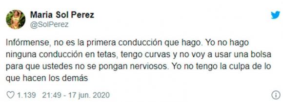 """Furiosa reacción de Sol Pérez cuando la compararon con Romina Malaspina: """"Yo no muestro las tetas cuando conduzco"""""""