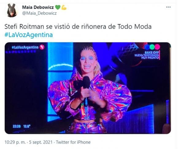 El extravagante look de Stefi Roitman en la final de La Voz Argentina que provocó una lluvia de memes en Twitter