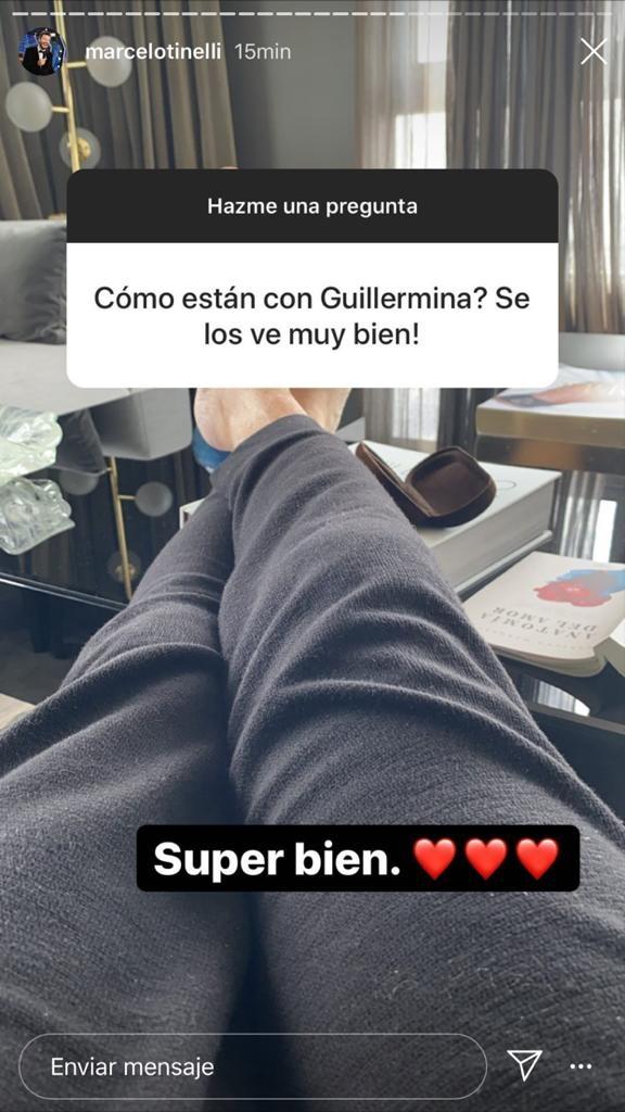 """Contundente respuesta de Marcelo Tinelli cuando le preguntaron cómo están con Guillermina Valdés tras la reconciliación: """"Súper bien"""""""