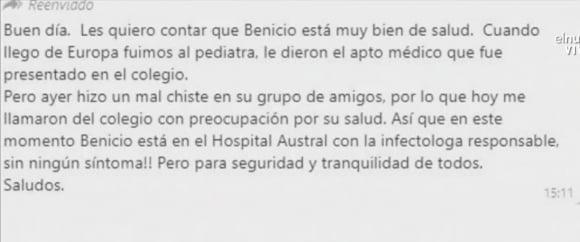 """El mensaje de Valeria Mazza al WhatsApp de mamis ante las versiones sobre la salud de sus hijos: """"No tienen coronavirus"""""""