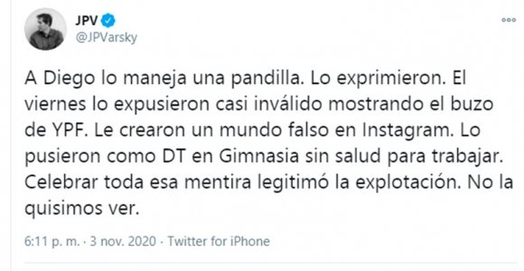 """Durísimo mensaje de Juan Pablo Varsky sobre la salud y el entorno de Diego: """"Lo maneja una pandilla, lo exprimieron"""""""