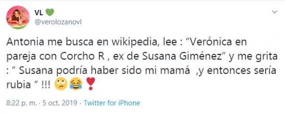 Vero Lozano contó la desopilante frase de su hija Antonia al enterarse de que su papá salió con Susana Giménez