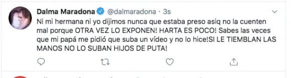 """Furioso tweet de Dalma Maradona tras el video de Diego: """"Si le tiemblan las manos no lo suban, hijos de pu..."""""""